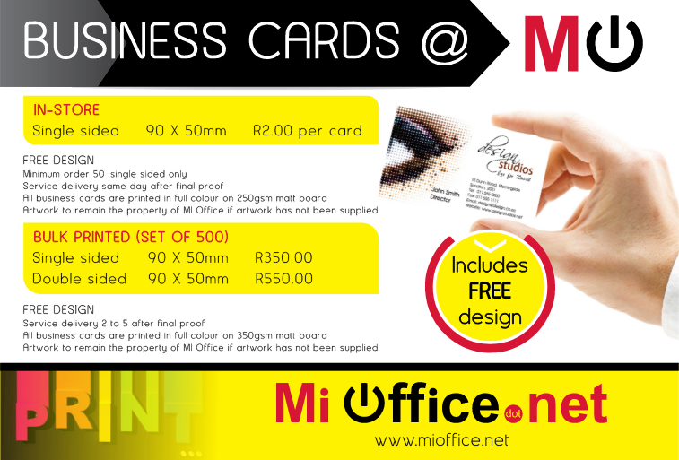 Business cards flyers mi office all flyers are printed in full colour on 170gsm gloss paper artwork to remain the property of mi office if the artwork has not been supplied reheart Choice Image
