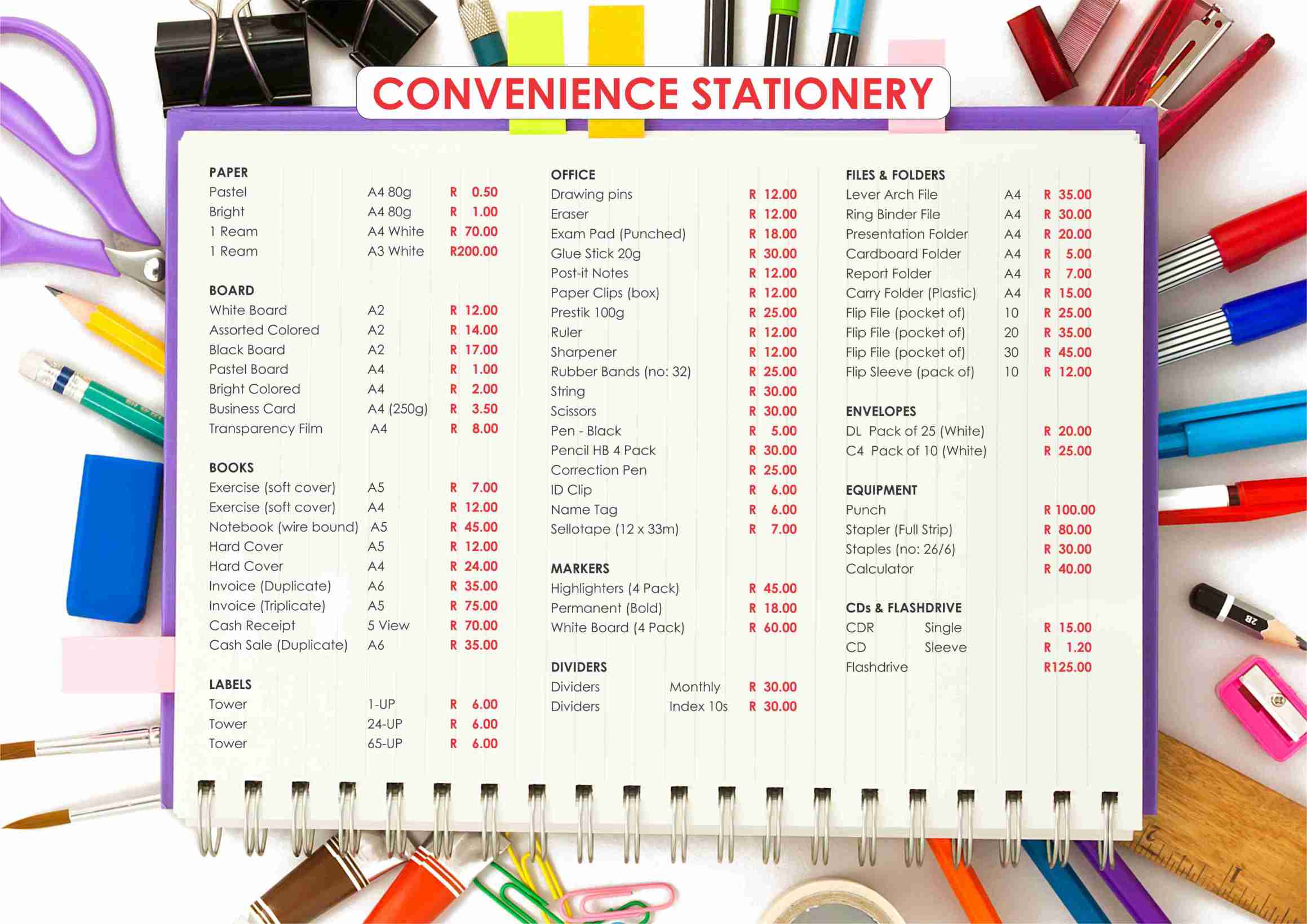 Convenience Stationery A3 Slatwall list Oct 2018